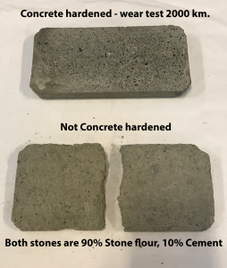 Concrete harened Stone Flour Wear test