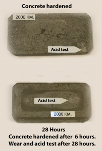 Concrete harened Acid Test