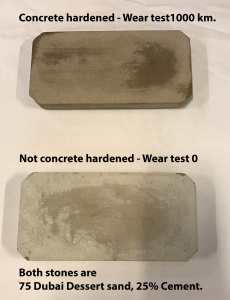 Concrete harened Dubai Dessert Wear Test