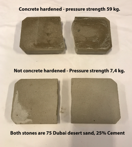 Concrete harened Dubai Dessert pressure strength test
