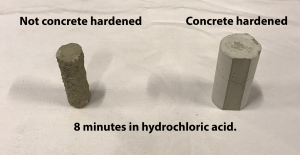 Concrete harened 8 Minutes In Hydrochloric Acid