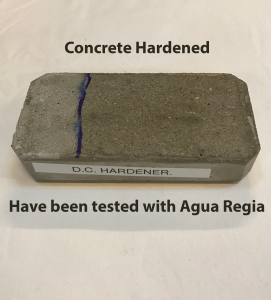 Concrete harened Agua Regia test